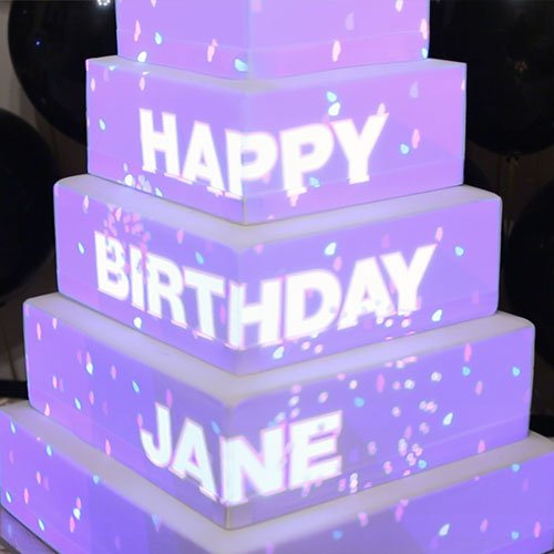 Cake mapping on a cake with the message Happy Birthday Jane