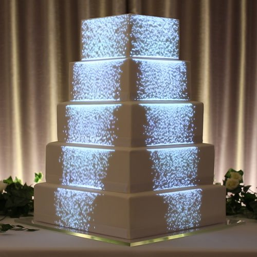 Particle cascade projection mapped on a wedding cake