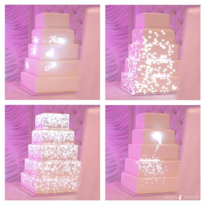 Four-image montage of cake projection from Baazi's wedding in Tottenham